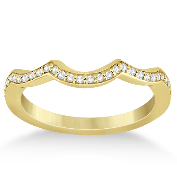 Diamond Chanel Set Curved Wedding Band in 18k Yellow Gold (0.16ct)
