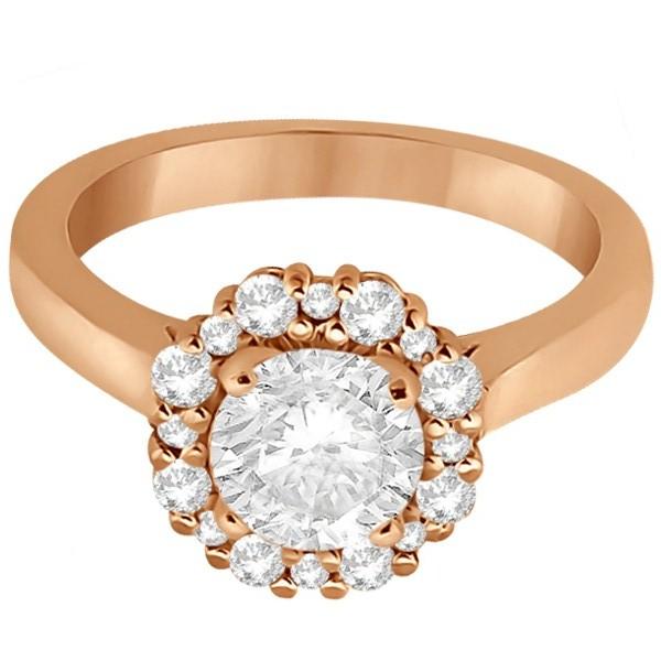 Diamond Halo Engagement Ring 14K Rose Gold Prong Setting (0.32ct)