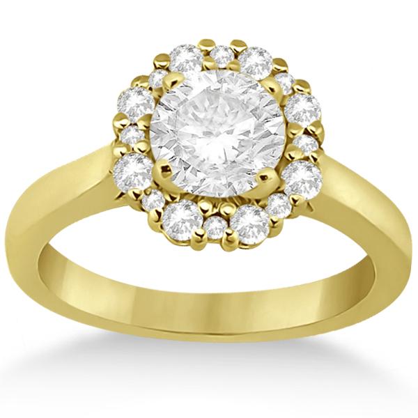 Diamond Halo Engagement Ring 14K Yellow Gold Prong Setting (0.32ct)