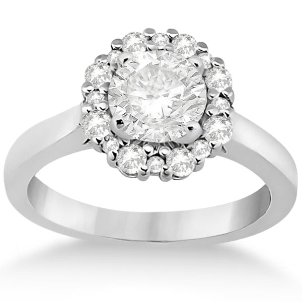 Diamond Halo Engagement Ring 18K White Gold Prong Setting (0.32ct)