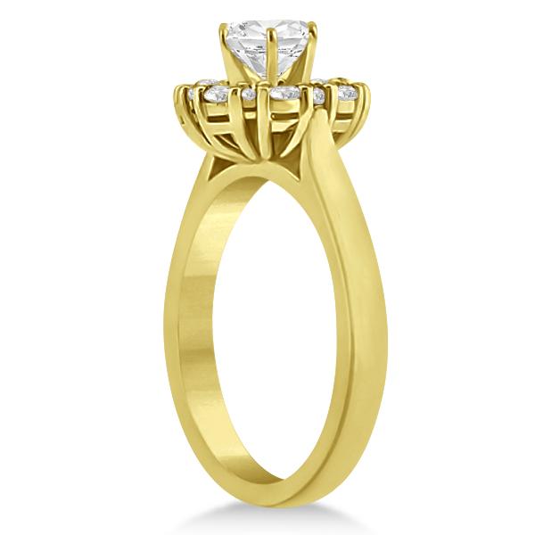 Diamond Halo Engagement Ring 18K Yellow Gold Prong Setting (0.32ct)