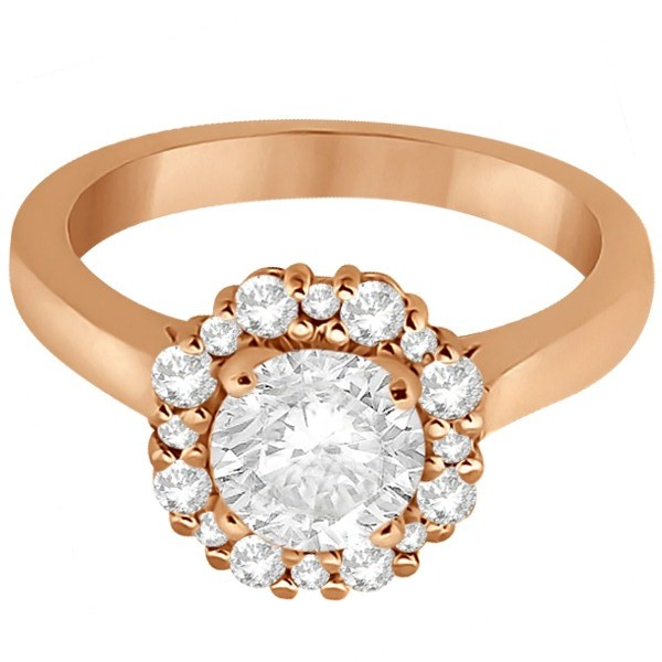 Halo Diamond Engagement Ring & Wedding Band 18k Rose Gold (0.51ct)