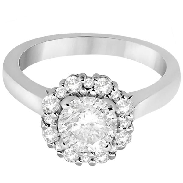 Halo Diamond Engagement Ring & Wedding Band 18k White Gold (0.51ct)