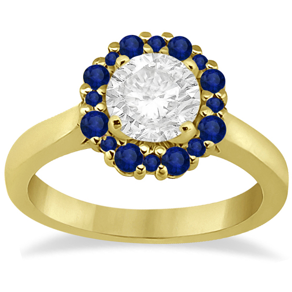 Halo Blue Sapphire Engagement Ring & Band 18K Yellow Gold (1.08ct)