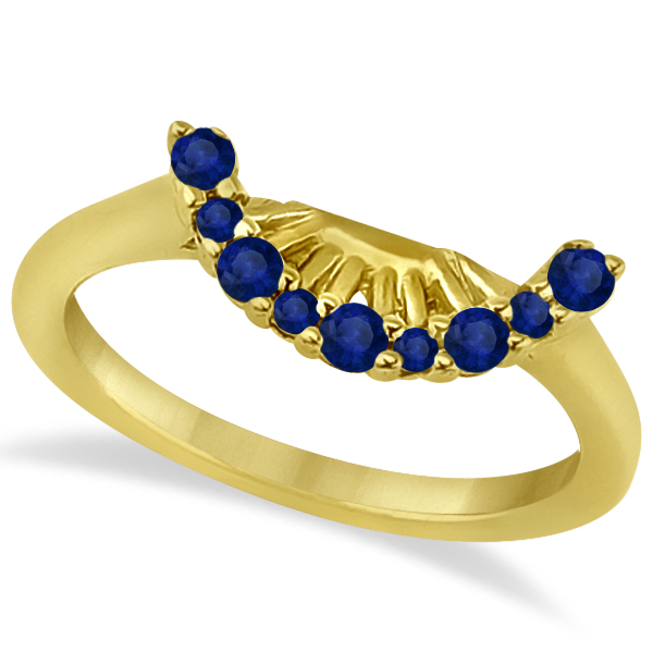 Blue Sapphire Contour Gemstone Wedding Band 14K Yellow Gold (0.40ct)