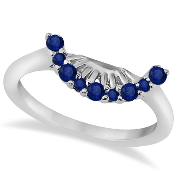 Blue Sapphire Contour Gemstone Wedding Band Platinum Setting (0.40ct)