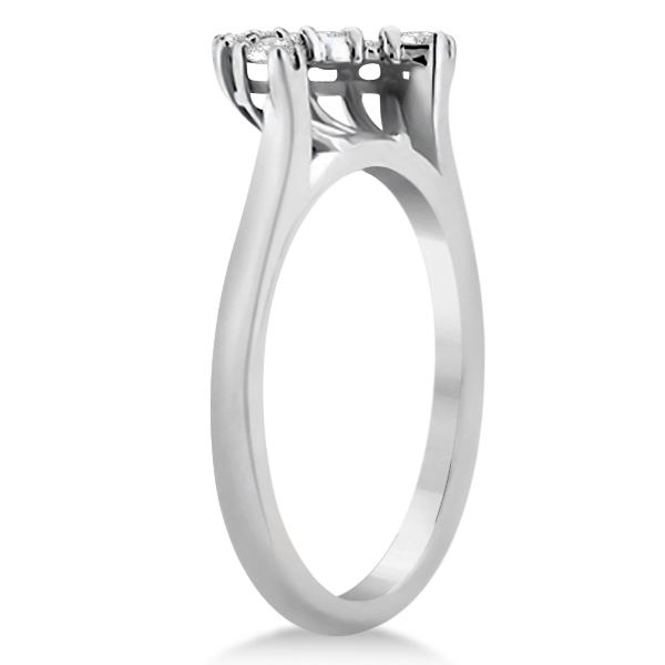Contour Diamond Wedding Band 14K White Gold Prong Setting (0.19ct)