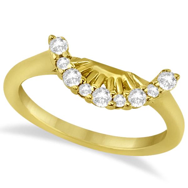 Contour Diamond Wedding Band 14K Yellow Gold Prong Setting (0.19ct)