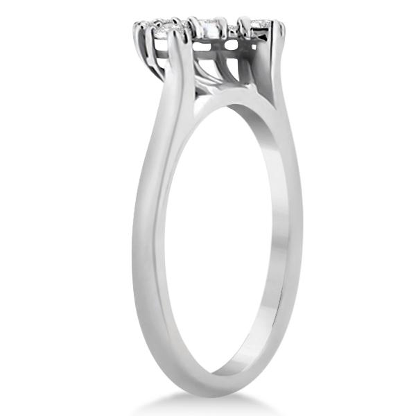 Contour Diamond Wedding Band 18k White Gold Prong Setting (0.19ct)