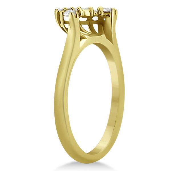 Contour Diamond Wedding Band 18k Yellow Gold Prong Setting (0.19ct)