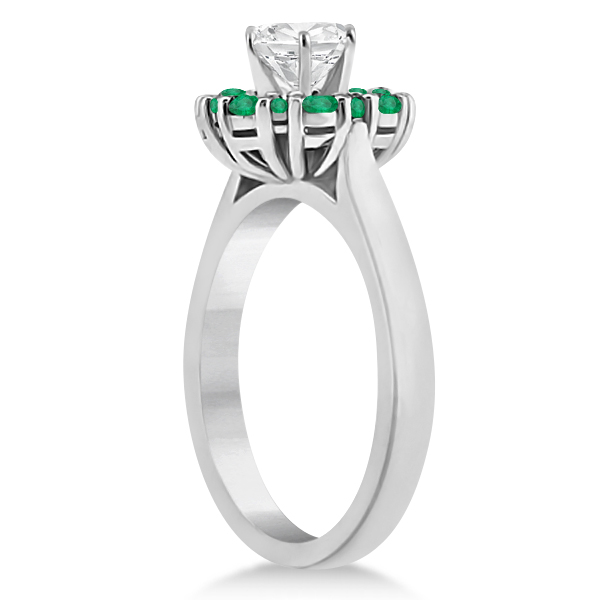 Prong Set Floral Halo Emerald Engagement Ring 14k White Gold (0.68ct)