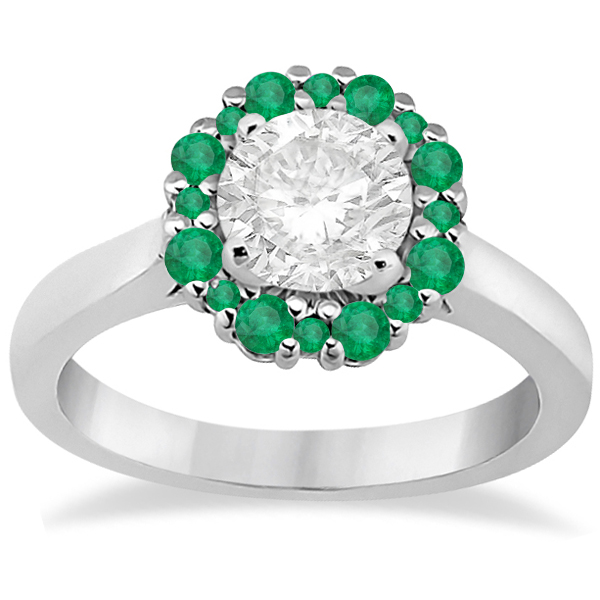 Prong Set Floral Halo Emerald Engagement Ring Platinum (0.68ct)