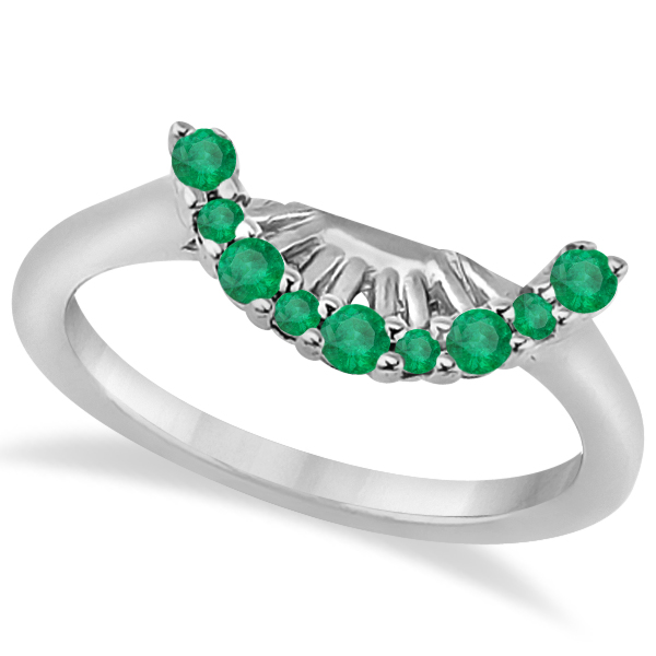 Emerald Contour Gemstone Bridal Wedding Band 18K White Gold (0.40ct)