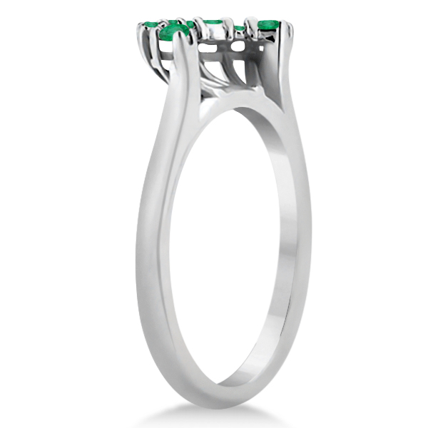Emerald Contour Gemstone Bridal Wedding Band 18K White Gold (0.40ct)