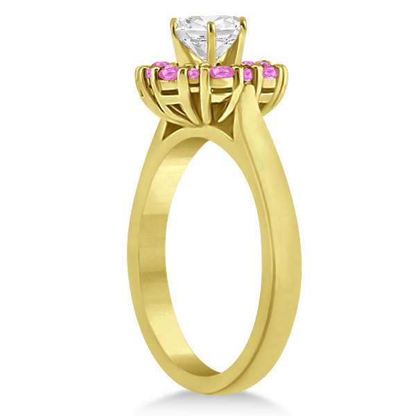 Prong Set Halo Pink Sapphire Engagement Ring 14k Yellow Gold (0.68ct)
