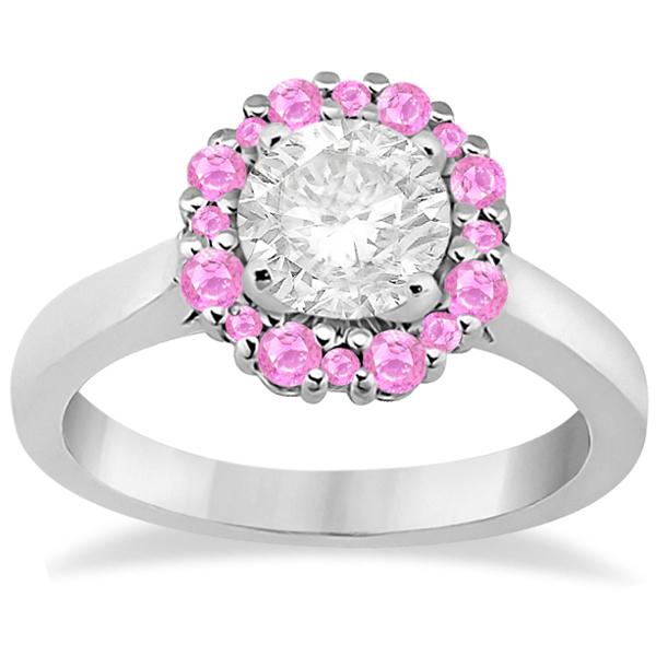 Prong Set Round Halo Pink Sapphire Engagement Ring Platinum (0.68ct)