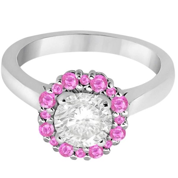 Halo Pink Sapphire Engagement Ring & Band 18K White Gold (1.08ct)