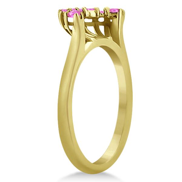 Pink Sapphire Contour Gemstone Wedding Band 14K Yellow Gold (0.40ct)