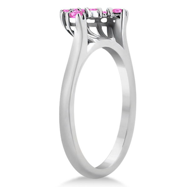 Pink Sapphire Contour Gemstone Wedding Band Platinum Setting (0.40ct)