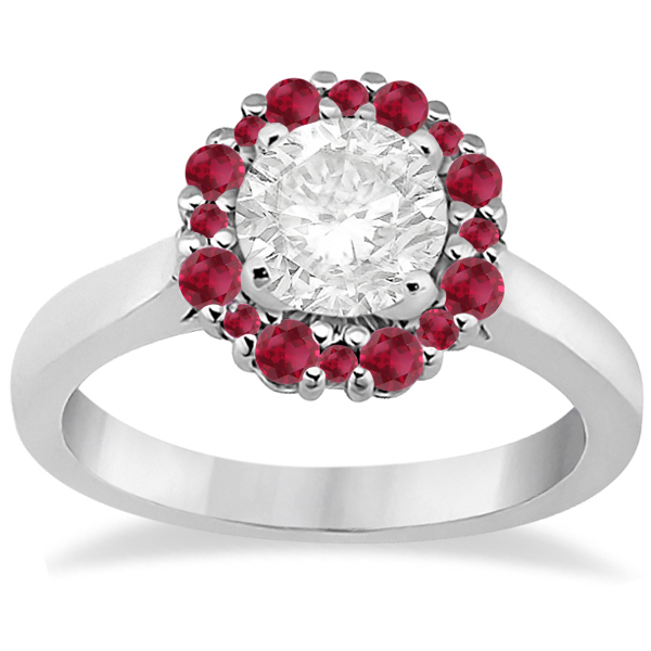 Prong Set Floral Halo Ruby Engagement Ring 14K White Gold (0.68ct)