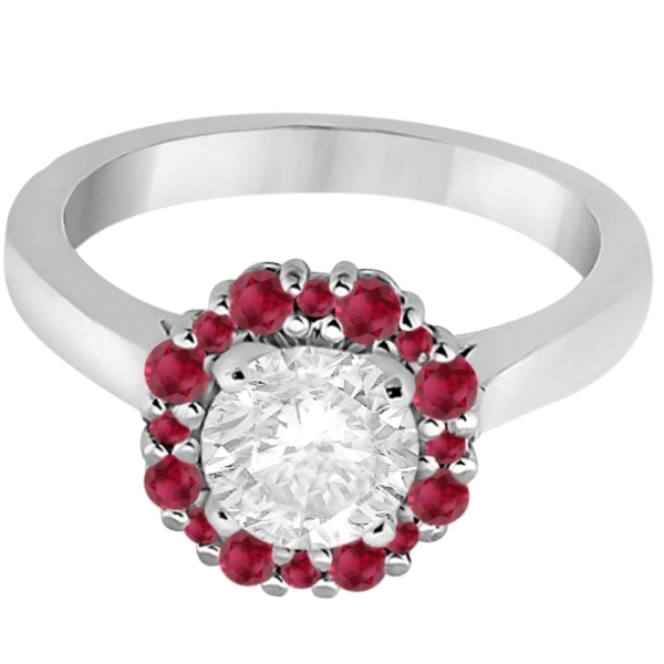 Prong Set Floral Halo Ruby Engagement Ring Platinum (0.68ct)
