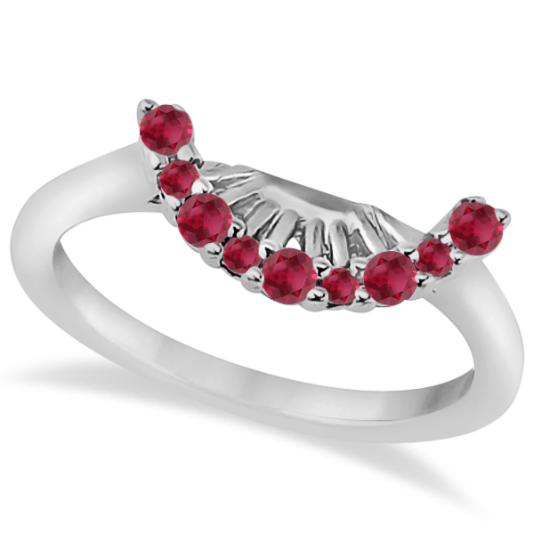 Ruby Contour Gemstone Bridal Wedding Band 14K White Gold (0.40ct)