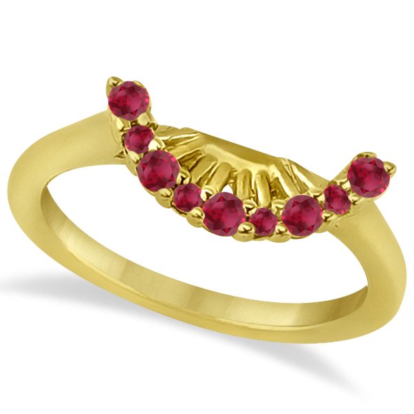 Ruby Contour Gemstone Bridal Wedding Band 14K Yellow Gold (0.40ct)