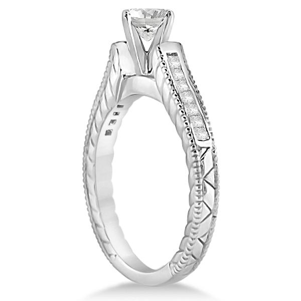 Princess Channel Set Diamond Engagement Ring 14k White Gold (0.17ct)