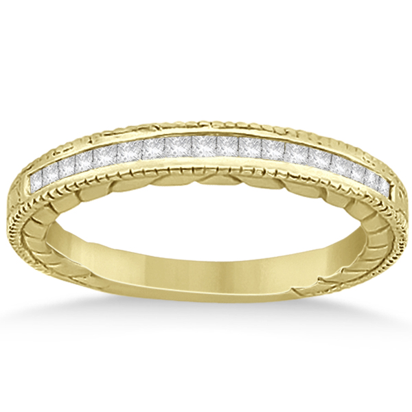 Princess Cut Channel Diamond Bridal Set in 14k Yellow Gold (0.38ct)