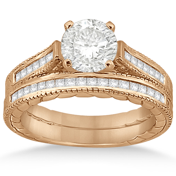 Princess Cut Channel Diamond Bridal Set in 18k Rose Gold (0.38ct)