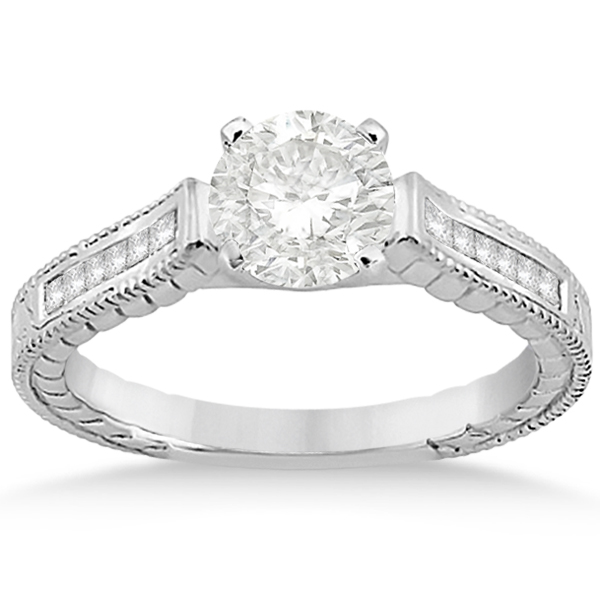 Princess Cut Channel Diamond Bridal Set in 18k White Gold (0.38ct)