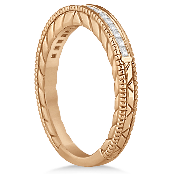 Princess Cut Channel Diamond Wedding Band in 18k Rose Gold (0.21ct)