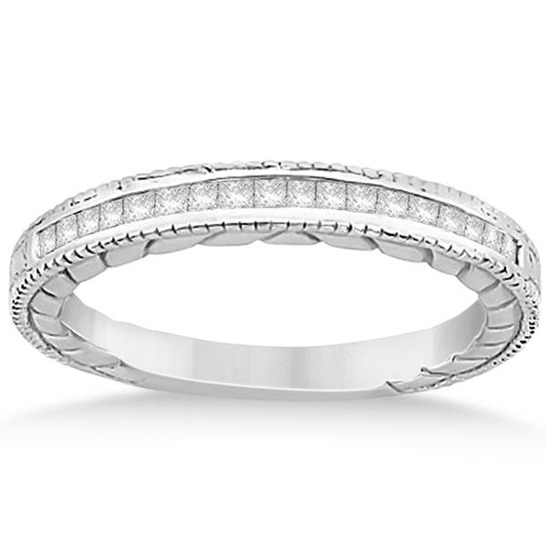 Princess Cut Channel Diamond Wedding Band in Palladium (0.21ct)