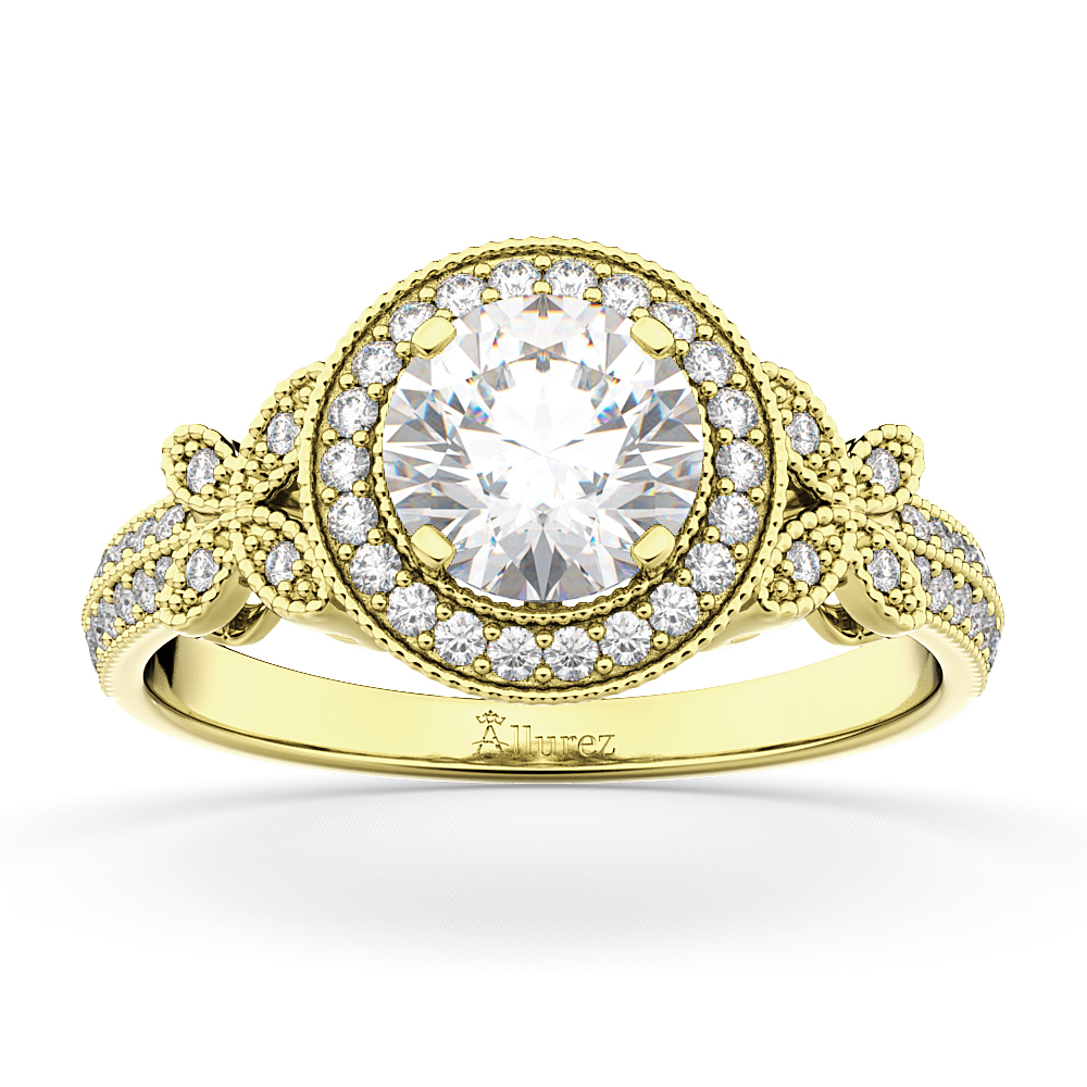 Halo Diamond Butterfly Engagement Ring 14k Yellow Gold (0.33ct)