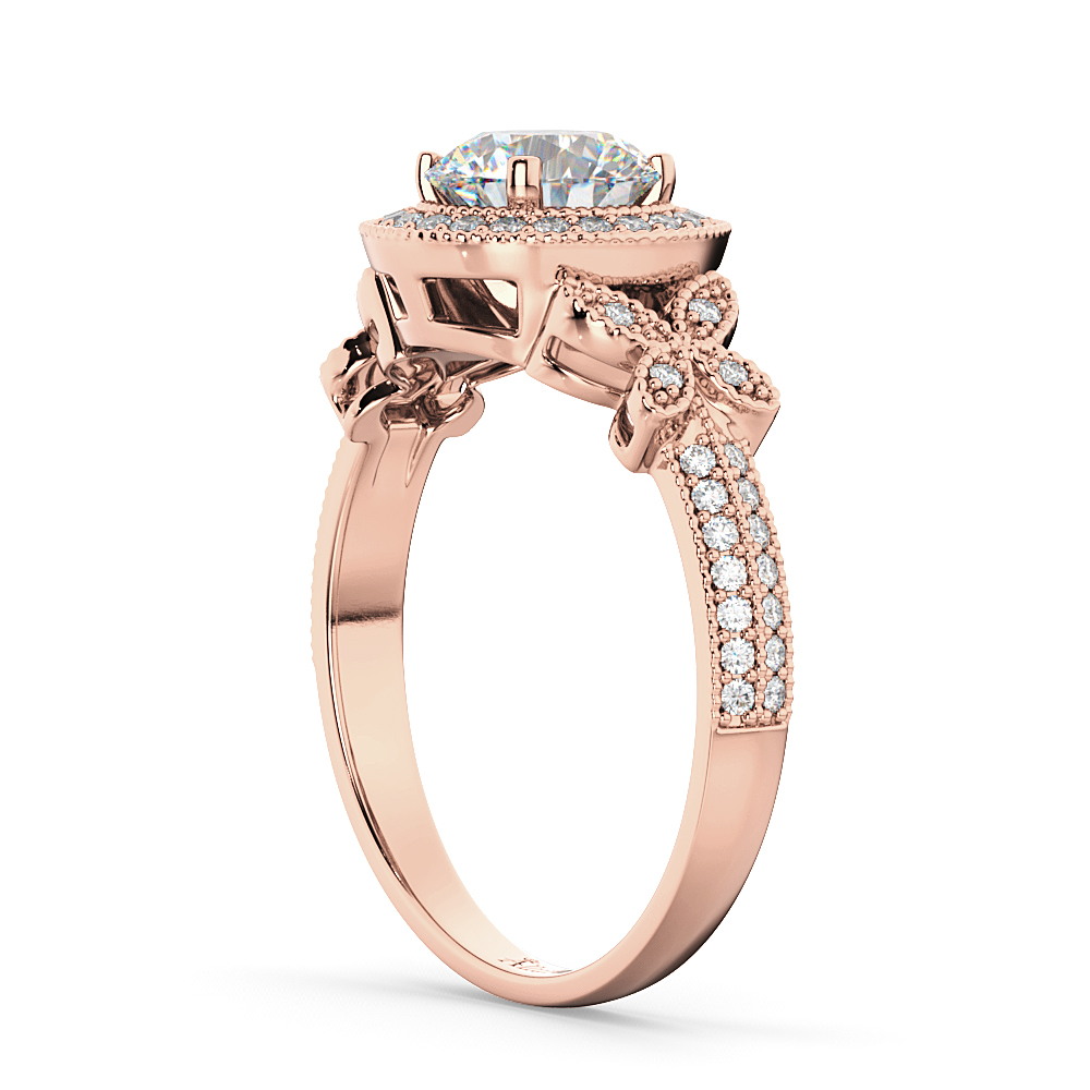 Halo Diamond Butterfly Engagement Ring 18k Rose Gold (0.33ct)