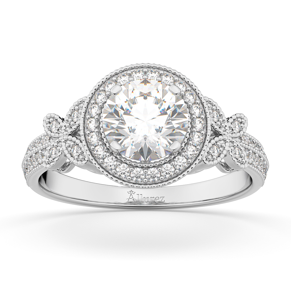 Halo Diamond Butterfly Engagement Ring 18k White Gold (0.33ct)