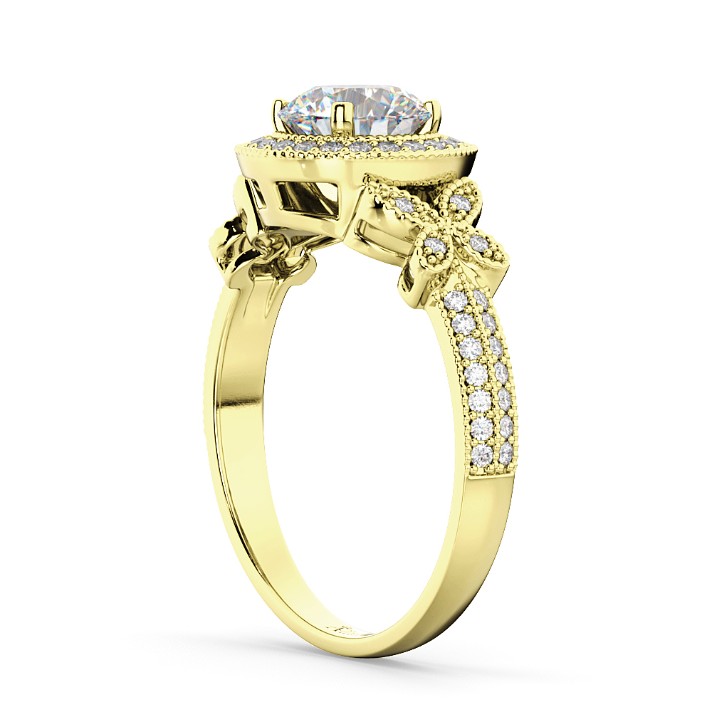 Halo Diamond Butterfly Engagement Ring 18k Yellow Gold (0.33ct)