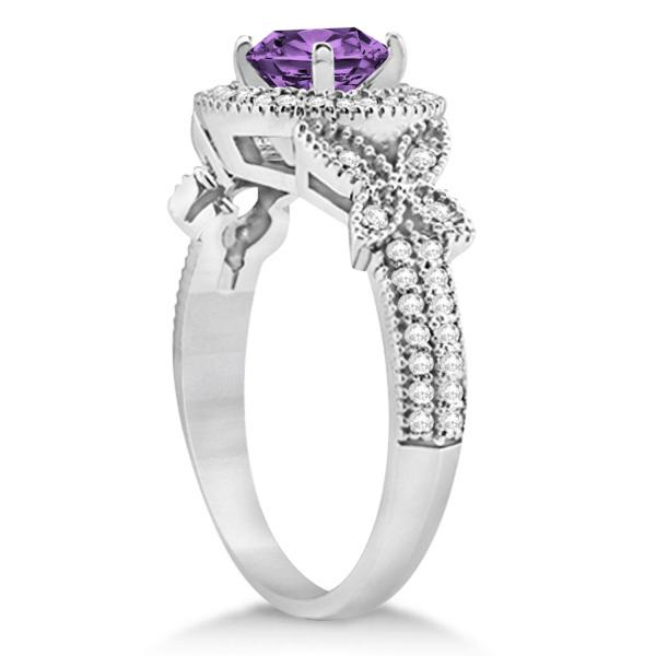 halo butterfly amethyst engagement ring 14k white