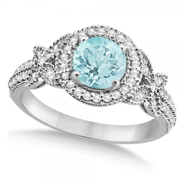 Halo Diamond Butterfly Aquamarine Engagement Ring 14k White Gold (1.33ct)