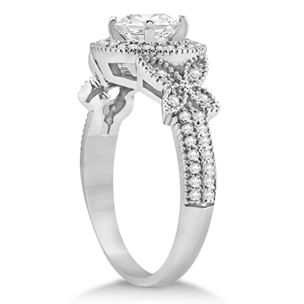 Halo Diamond Butterfly Engagement Ring Palladium (0.33ct)