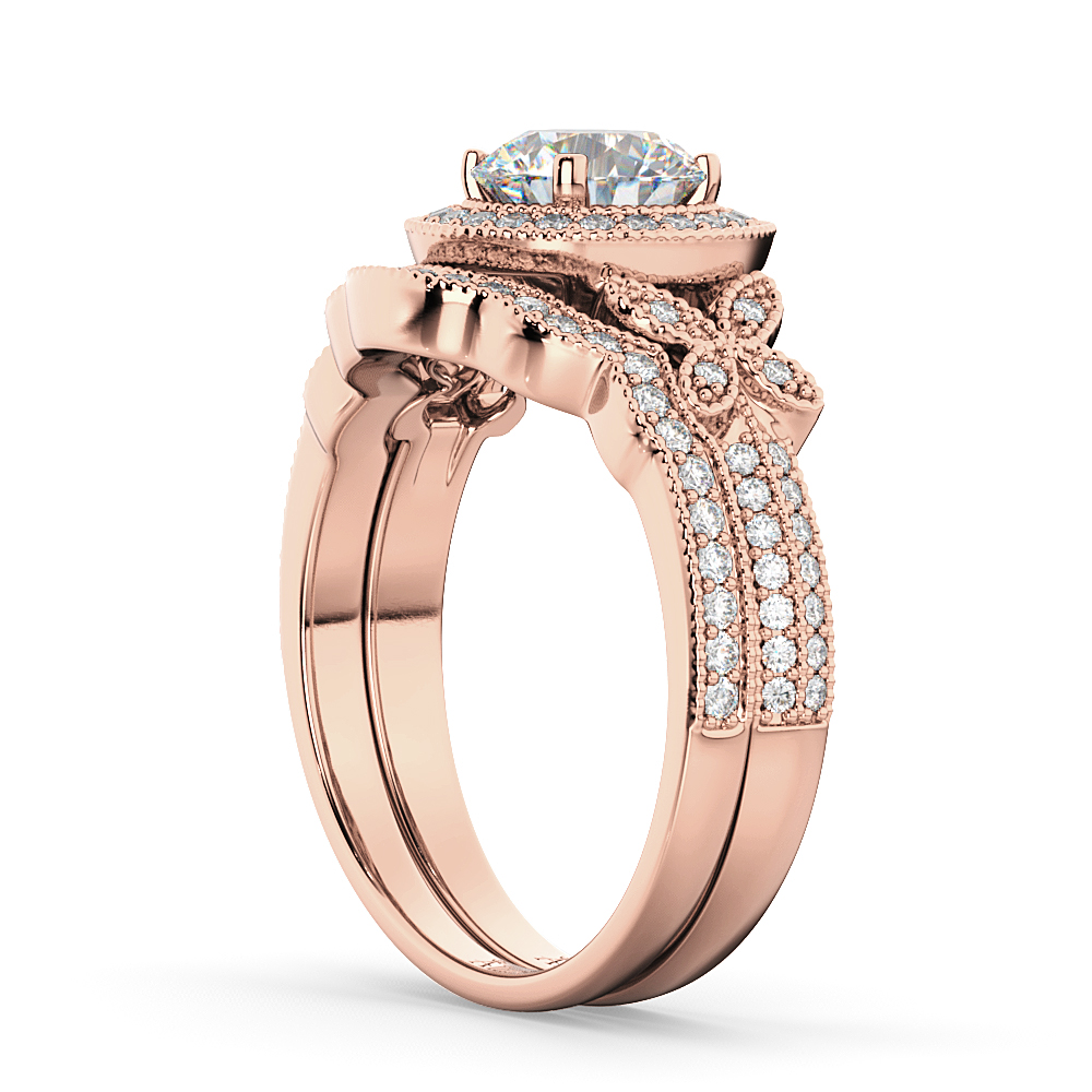 Butterfly Diamond Engagement Ring & Wedding Band 18k Rose Gold (0.58ct)