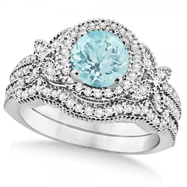 Butterfly Halo Diamond Aquamarine Bridal Set in 14k White Gold (1.58ct)