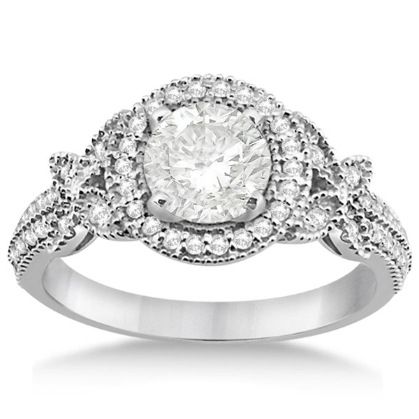 Butterfly Diamond Engagement Ring & Wedding Band Palladium (0.58ct)