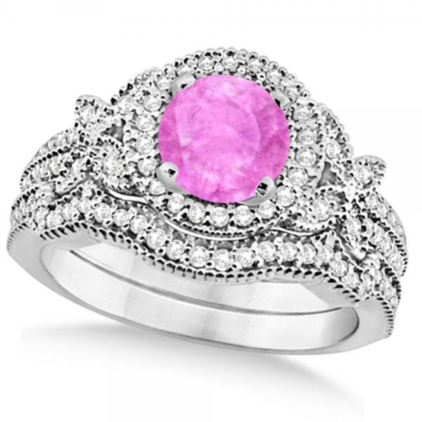 Butterfly Halo Diamond Pink Sapphire Bridal Set in 14k White Gold (1.58ct)