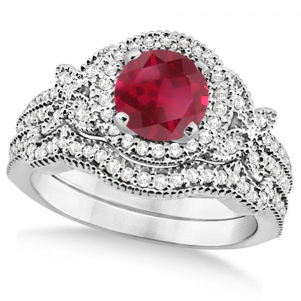 Butterfly Halo Diamond Ruby Bridal Set in 14k White Gold (1.58ct)