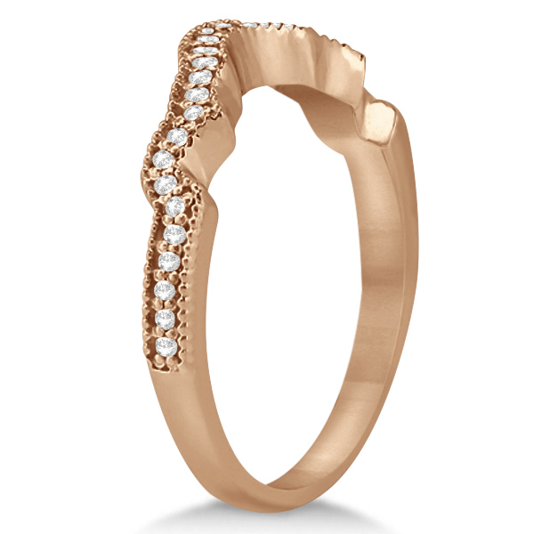 Contour Band Diamond Wedding Band 14k Rose Gold (0.15ct)