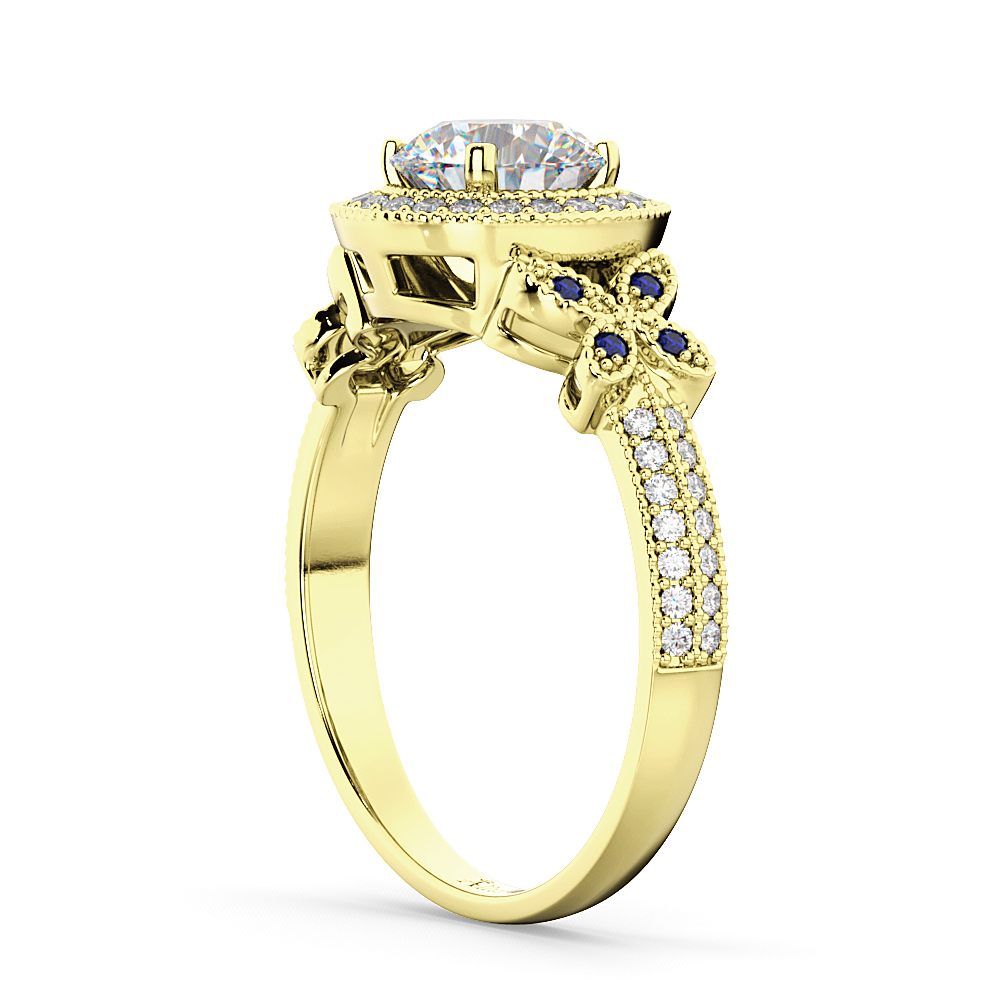 Diamond & Sapphire Butterfly Engagement Ring 14k Yellow Gold (0.35ct)