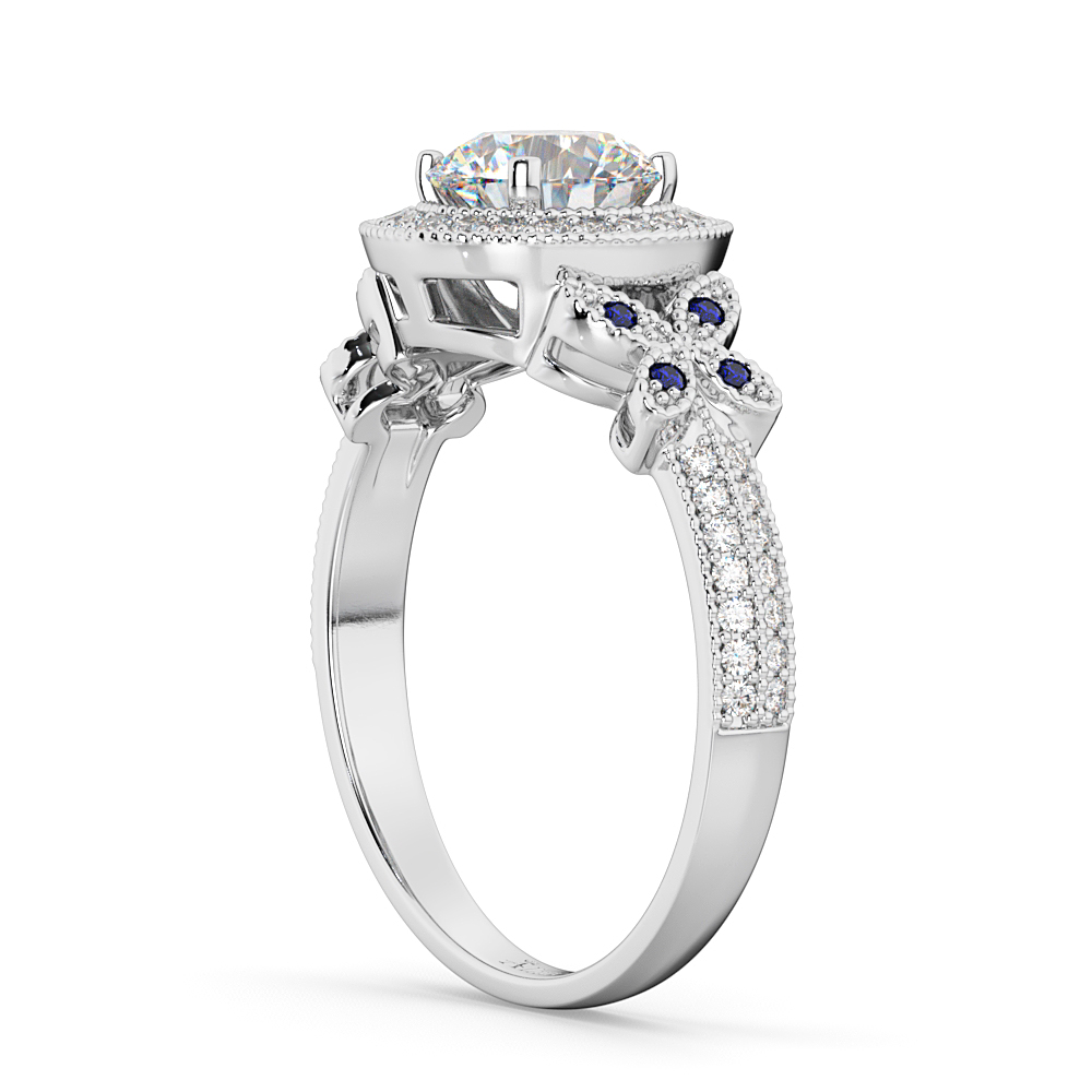 Diamond & Sapphire Butterfly Engagement Ring 18k White Gold (0.35ct)