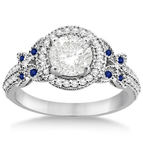 Diamond & Sapphire Butterfly Engagement Ring Palladium (0.35ct)