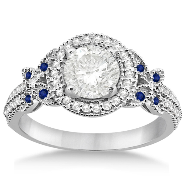 Diamond & Sapphire Butterfly Engagement Ring Platinum (0.35ct)
